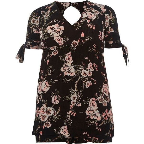 River Island Black floral print tie sleeve romper ($30) ❤ liked on Polyvore featuring jumpsuits, rompers, black, rompers/ jumpsuits, sale, women, floral rompers, v neck romper, short sleeve jumpsuit and floral jumpsuit