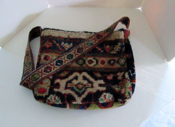 Bohemian Carpet  Bag Purse Antique Mashad by LizHenzeWithStyle