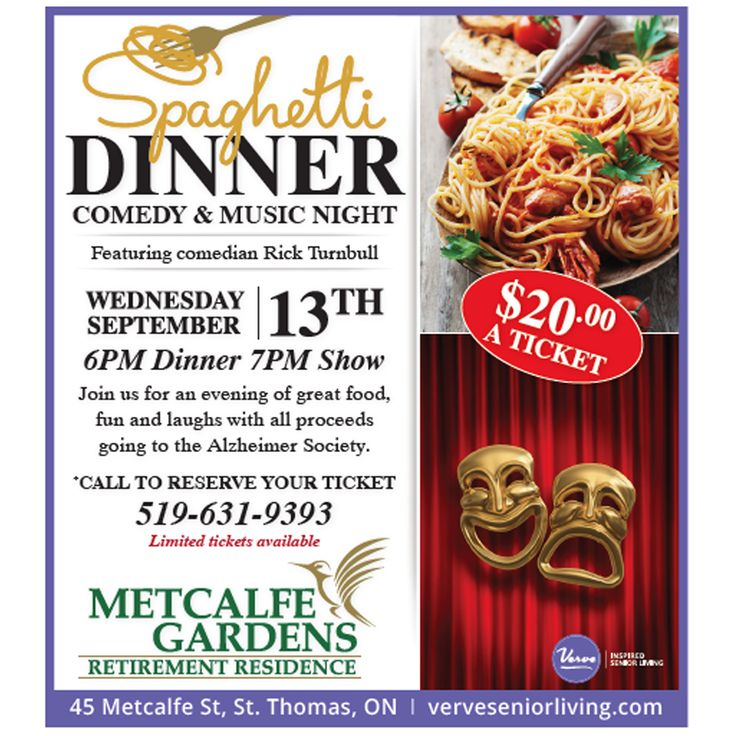 Join us at Metcalfe Gardens for a great evening of food and laughs in support of the Alzheimer Society. Call 519-631-9393 to reserve your tickets. #VerveSeniorLiving