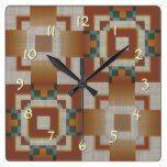 Burnt Orange Brown Teal Blue Tribal Mosaic Pattern Square Wall Clocks  #blue #Brown+ #Burnt #clocks #Mosaic #Orange #Pattern #RusticClock #Square #Teal #Tribal #Wall The Rustic Clock