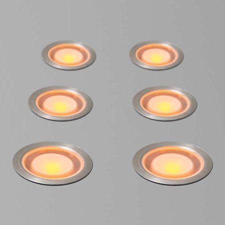 Nice er Einbauset Guard IP gelb Sch nes Set aus sechs kleinen LED Einbauleuchten komplett mit