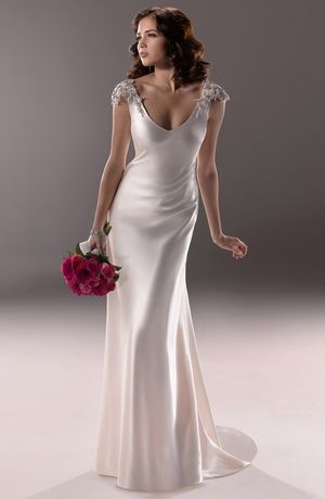 Maggie Sottero - V-Neck Sheath Gown in Crepe Back Satin