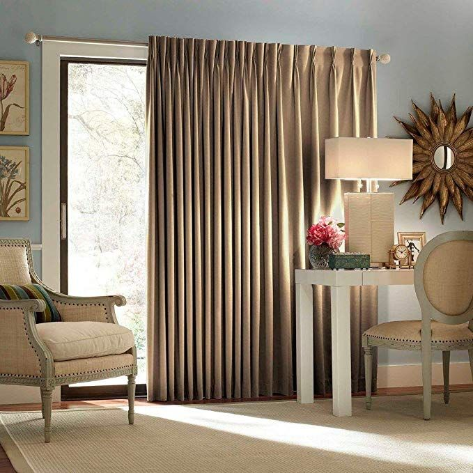Eclipse Thermal Blackout Patio Door Curtain Panel 100 Inch X 84 Inch Wheat Patio Door Curtains Sliding Glass Door Curtains Glass Door Curtains