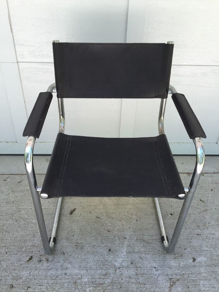 details about marcel breuer style chair chrome black leather mid century modern conference. Black Bedroom Furniture Sets. Home Design Ideas