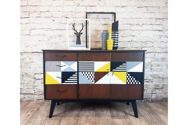 Re Finished 1950s Vintage Sideboard With Hand Painted Geometric Design | vinterior.co
