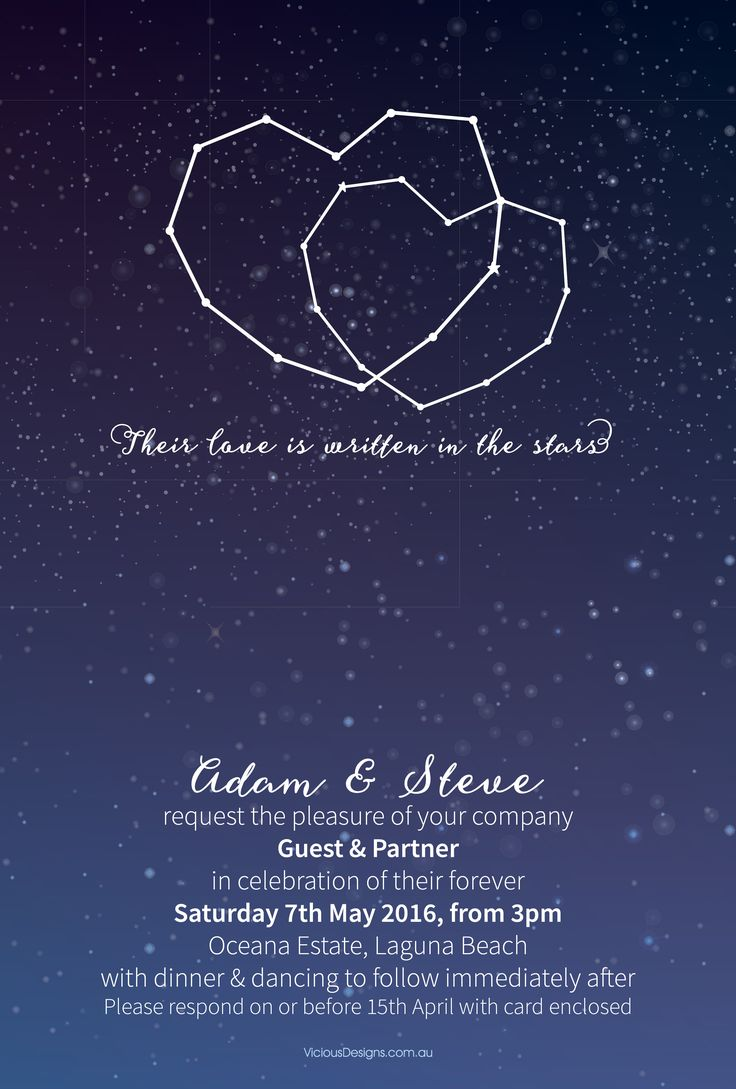 Constellation Invitation from our Contemporary collection. A love written in the stars. This boldly cute invitation features entwined constellation hearts, a gorgeous starry sky background and matching, pretty fonts.