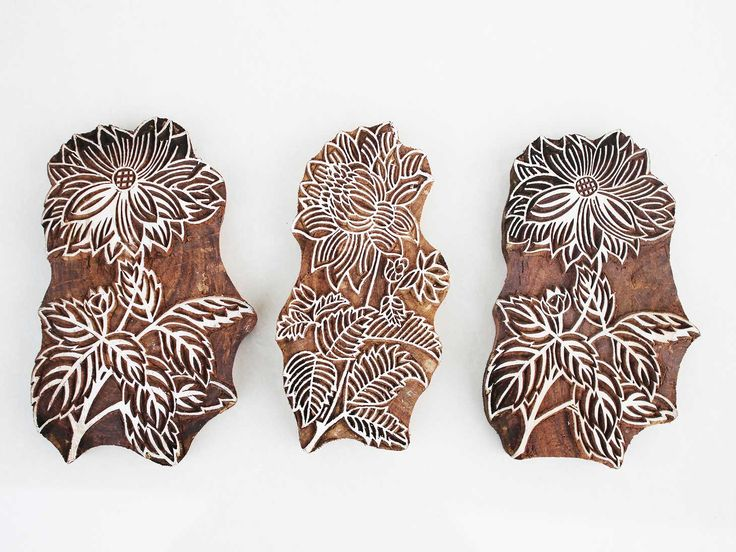 Traditional Indian flower designed wooden printing blocks for printing on fabrics and canvashttps://www.indianshelf.com/category/wooden-printing-blocks/
