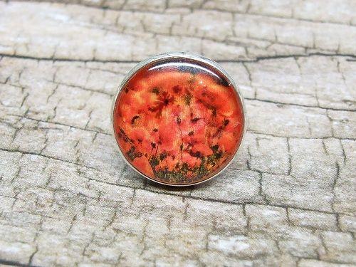 Üveglencsés gyűrű - Pipacsos