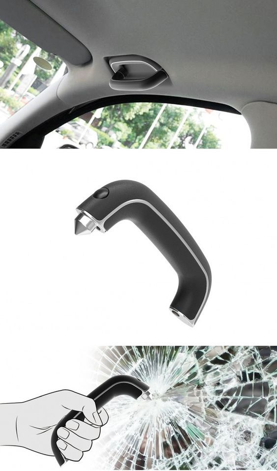 In the event of an #automotive #accident that results in incapacitation of the doors, the Emergency Hammer comes in handy for safely shattering the windows. The design combines a safety hammer with an internal vehicle handle. In an emergency, the press of a button releases the handle and it can be used as a hammer. #Safety #Hammer #Secure #Automobile #Transport #Car #Design: