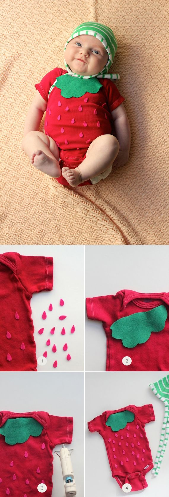 Celebrate baby's first Halloween with a DIY easy no-sew strawberry Halloween costume.