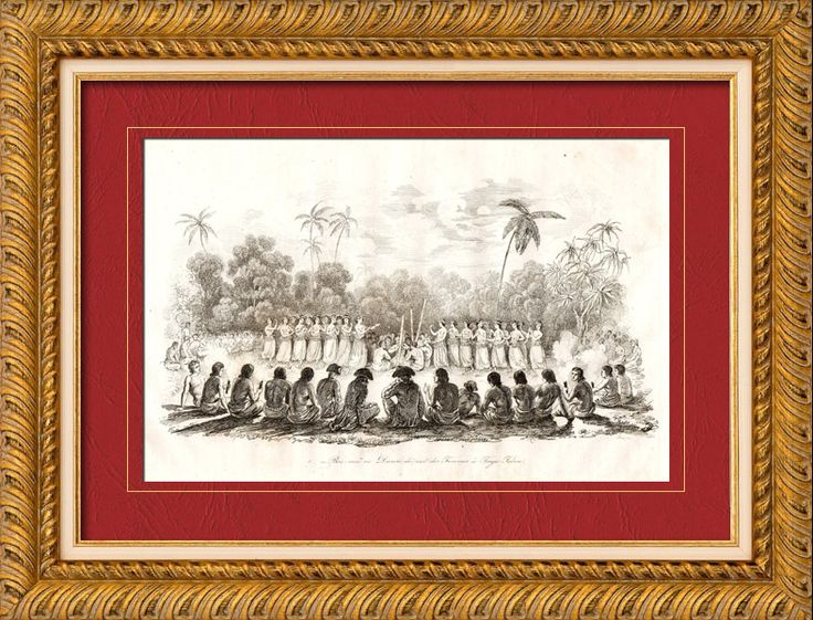 Tonga Islands - Tonga Tabu - Tongatapu - Bou-meï or Night Dance of the Women - James Cook Original steel engraving drawn by Jules Boilly, engraved by Beyer. 1835