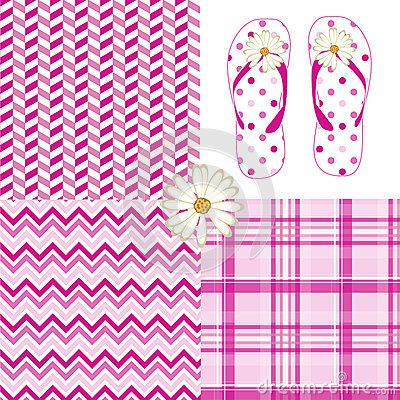 Pink pattern pack vector illustration drawing with chevron, polka dot, plaid, herringbone and flip flop daisy flower prints.