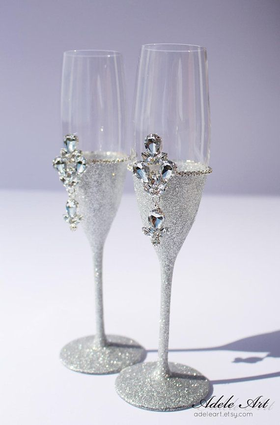 champagne wedding flutes set of 2 wedding glasses personalized rh pinterest it