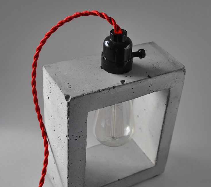 Handmade Concrete table lamp by Curly Woods Artisants.