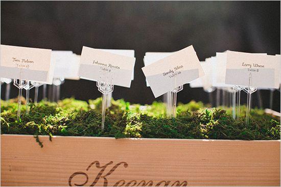 escort cards in a bed of moss @weddingchicks