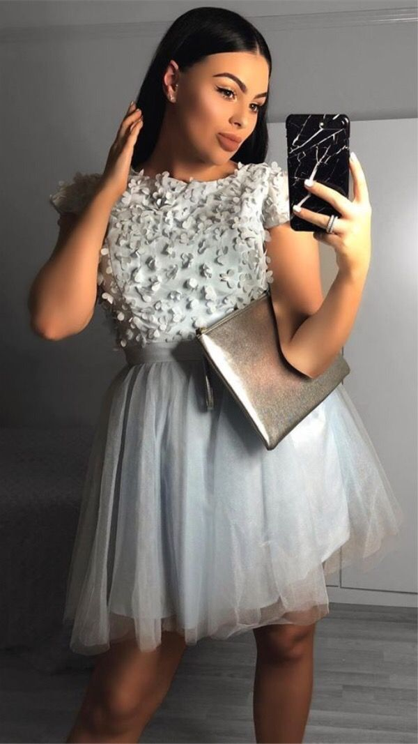 a4be3a396a2 cheap grey tulle short sleeve homecoming dresses for teens