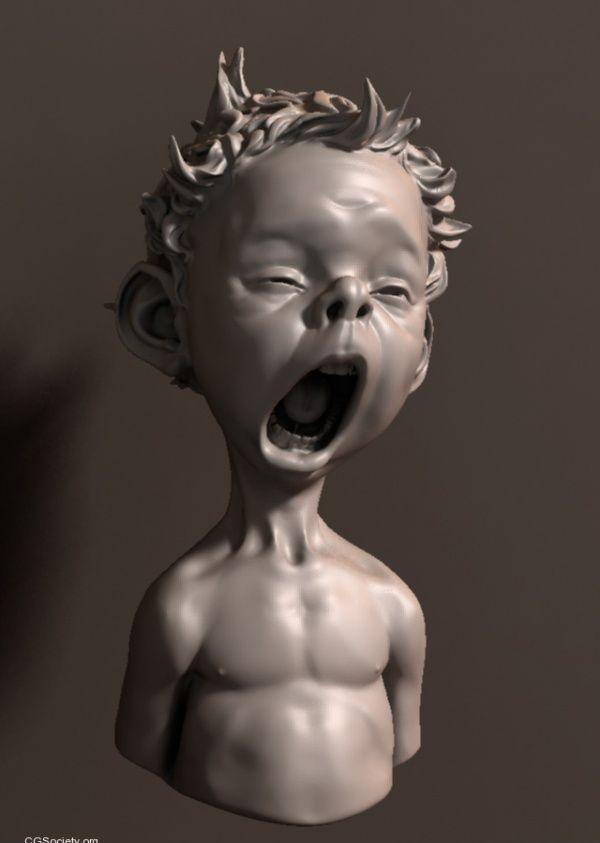 yawning kid sculpt by Bogi Piroth