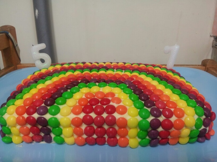Rainbow birthday cake for our girls joint 5th & 7th party