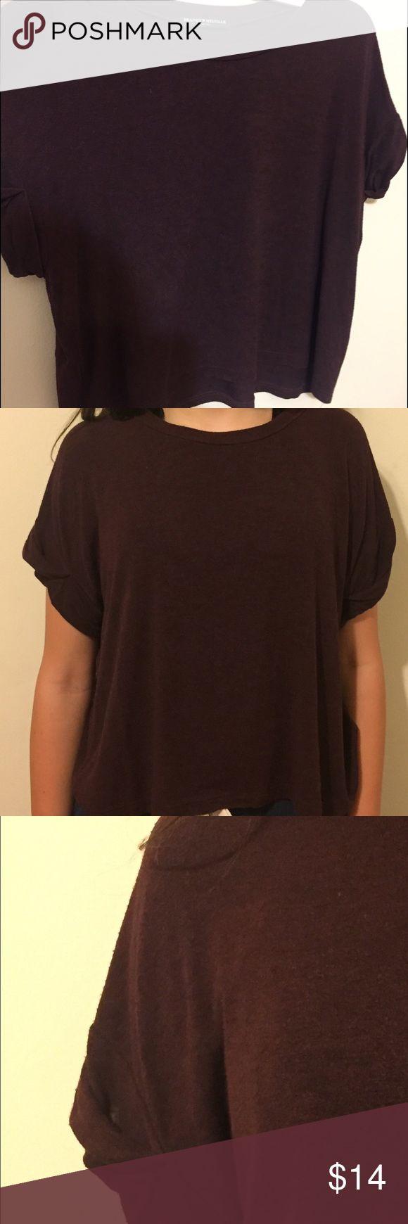 burgundy shirt (worn)no stains, in good condition. (worn)no stains, in good condition. Folded sleeve design . Brandy Melville Tops