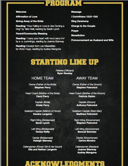 Hockey Wedding Program