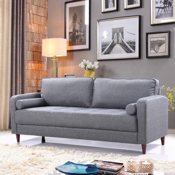 best living room chair%0A Madison Home USA MidCentury Modern Linen Fabric Living Room Sofa  Upholstery  Light Gray
