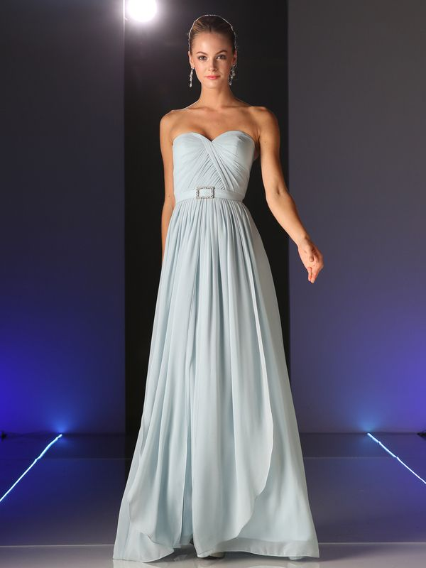 C7460 Sweetheart Twisted Front Bridesmaid Dress - Light Gray, Front View Medium