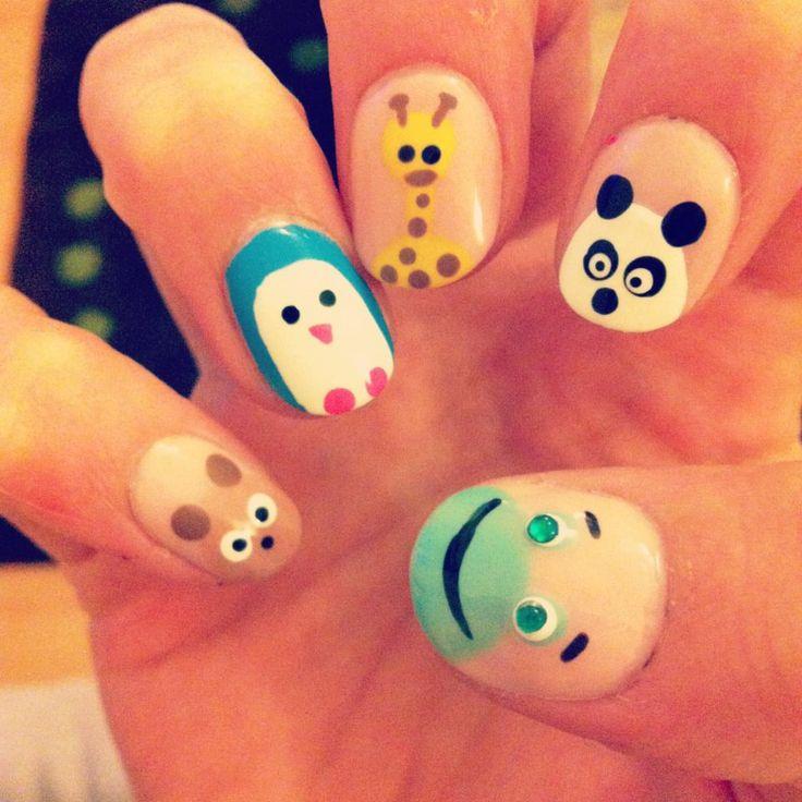 Animal nail art =^.^= We could make the panda red lol