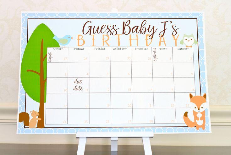 Woodland Theme Baby Shower Calendar Game. Woodland Baby Shower Decoration. Forest Baby Shower Game. Fox & Owl Birthday Prediction Calendar by PreppingParties on Etsy https://www.etsy.com/listing/541000935/woodland-theme-baby-shower-calendar-game