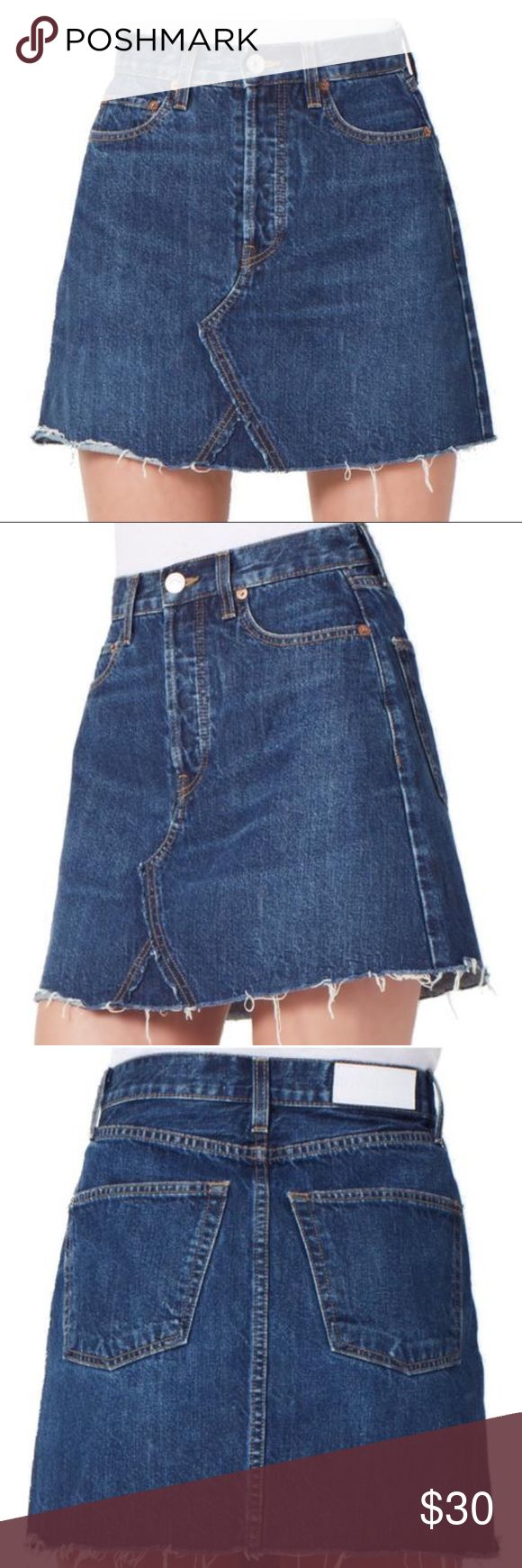 HSKM DISTRESSED JEAN SKIRT!!! Beautiful distressed jean skirt from REDONE!! Size small!! Free People Skirts Mini
