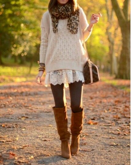 Boots, long sweater& a lacy shirt...