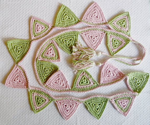Pink and Green Crochet Bunting