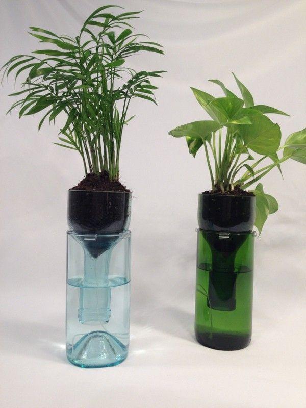 Self-watering wine bottle planter. #Hipcycle
