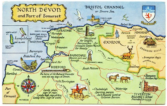 Postcard map of North Devon and part of Somerset | Drawn by … | Flickr