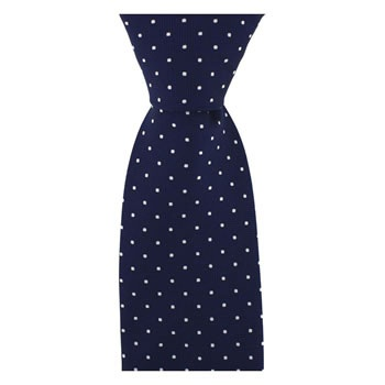 Navy Blue And White Small Polka Dot Tie