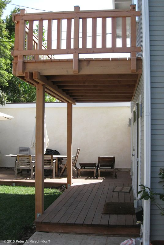 2 Story Deck Designs | Craftsman Second Story Wood Deck & Porch Railing - West Hollywood