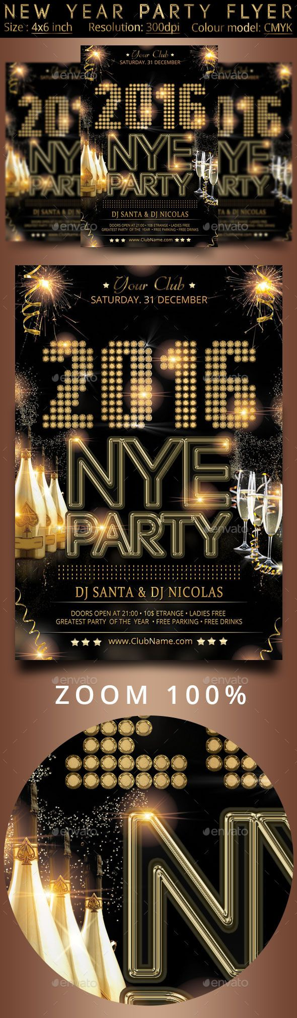 New Year Party Flyer Event PostersFlyer TemplateNew