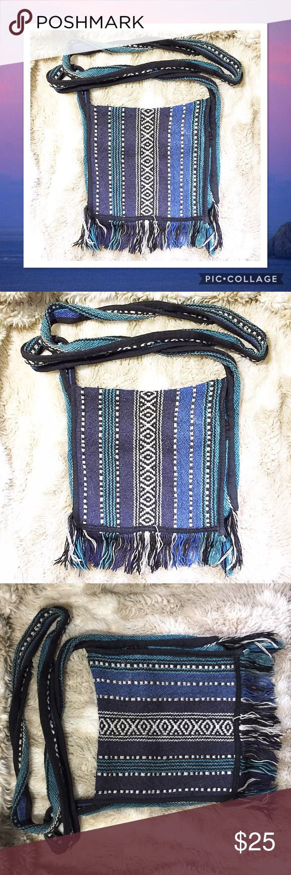 Baja Fringe Boho Woven Knit Crossbody Purse Baja tassel boho style Crossbody purse. Woven Knit texture similar to the jackets and blankets made in this style.  #baja #tassel #boho #crossbody #purse #textured #woven #knit #fringe #mexican #california #punkydoodle  No modeling Smoke free home I do discount bundles Bags Crossbody Bags