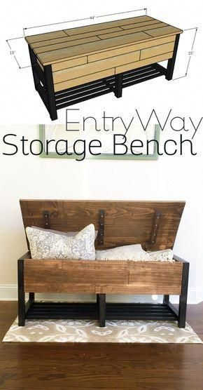 entryway storage bench diy woodworking plans furniturediycloset rh pinterest com
