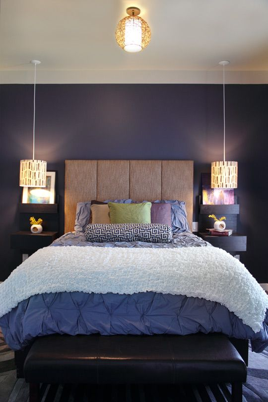 Purple bedroom with fabric covered headboard#Repin By:Pinterest++ for iPad#
