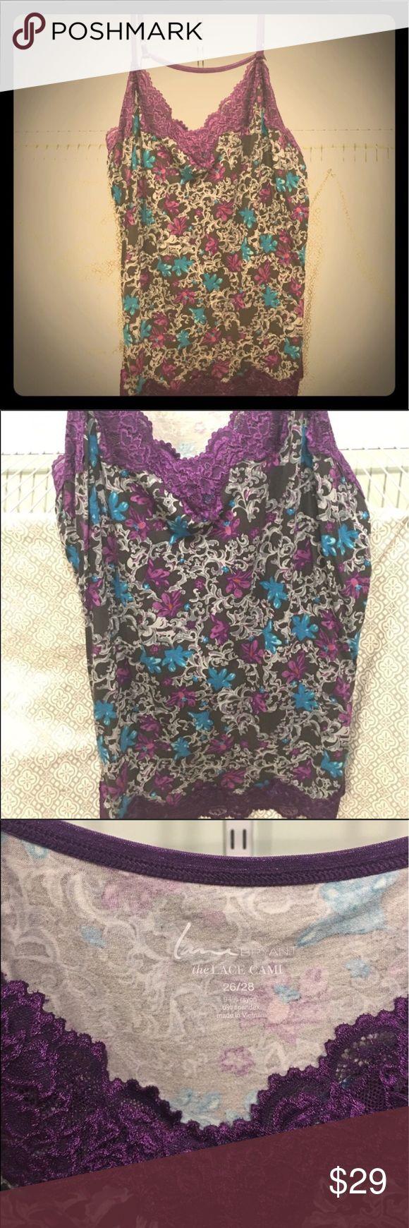 "Plus size 26/28 Lane Bryant Purple Laced Cami Plus size 26/28 Lane Bryant Purple multi colored print Laced Cami 29"" length adjustable straps Lane Bryant Tops Camisoles"