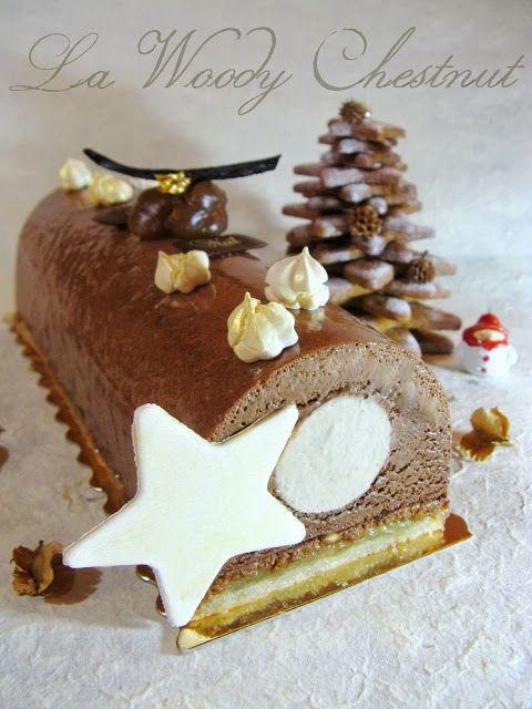 J'en reprendrai bien un bout...: Bûche Noël 2013 - La Woody Chestnut poire/marron choco