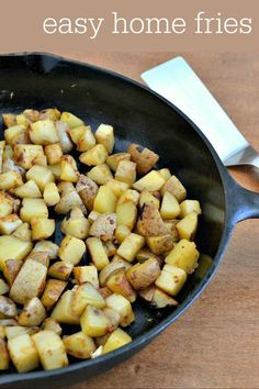 This easy home fries recipe makes a big batch of delicious comfort food. These home fries are a great side dish for breakfast, lunch, or dinner.