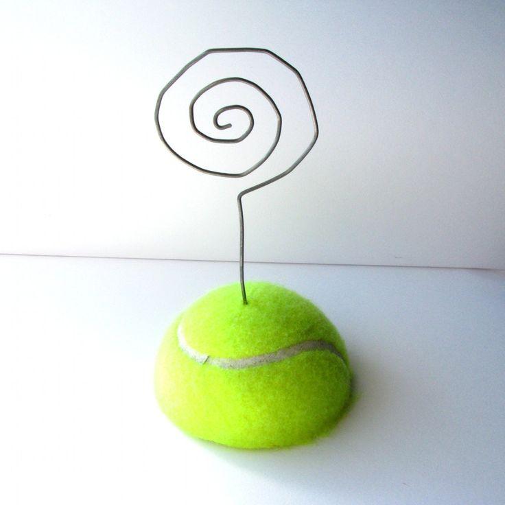 Tennis Ball Photo Holder - Upcycled. $3.00, via Etsy.