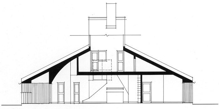 Blue Print Of The Vanna Venturi House Post Modernity Architecture Icon Drawn In Black On A White Piece Of Vanna Venturi House Architecture Philippine Houses