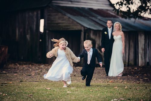 Page boy and Flower girl running
