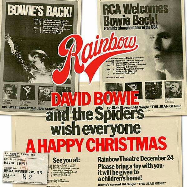 "24th Dec 1972, On the second UK leg of his 182 date Ziggy Stardust Tour, David Bowie played the second of two nights at the Rainbow Theatre, London. This tour had the classic Spiders From Mars line up of Mick Ronson on guitar, vocals, Trevor Bolder, bass and Mick ""Woody"" Woodmansey on drums. More here on Ziggy: http://www.thisdayinmusic.com/pages/ziggy_stardust"
