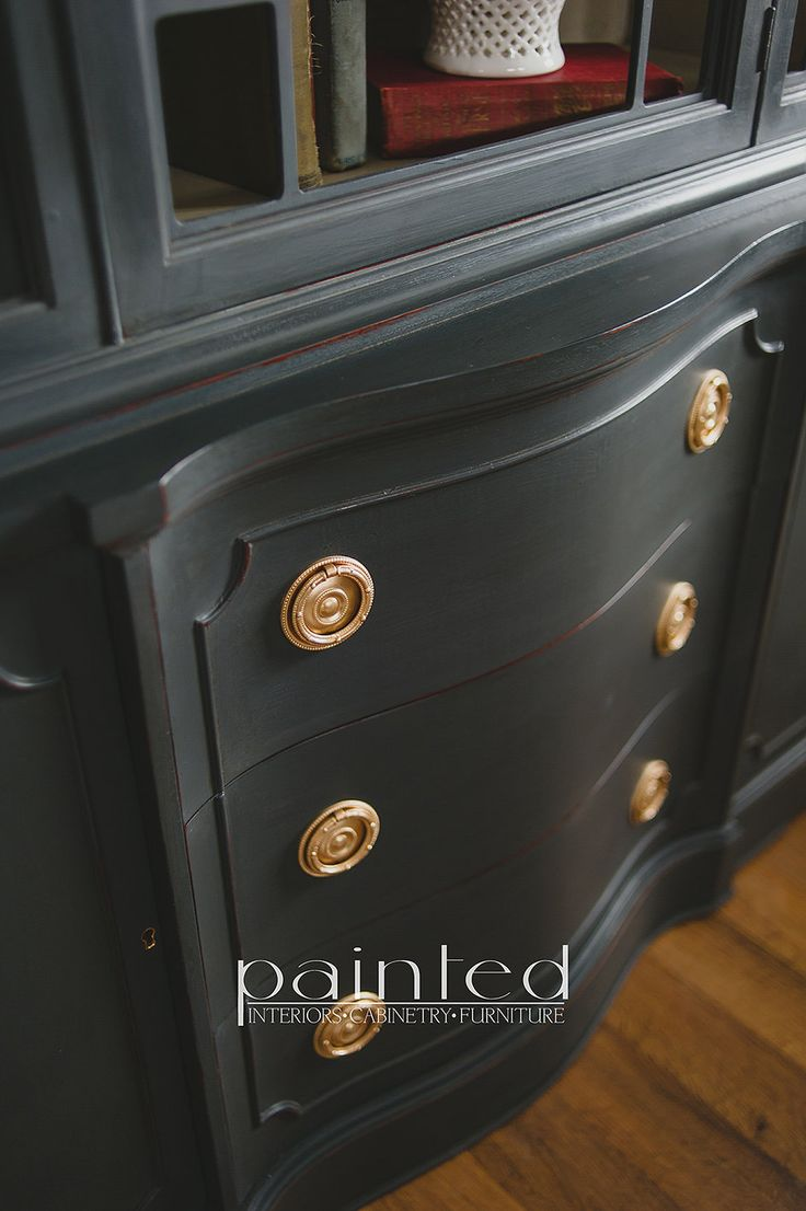 Antique china cabinet painted in Annie Sloan Graphite and French Linen with brass hardware