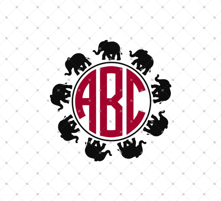 Elephants Circle Monogram SVG Cut Files for Cricut and Silhouette