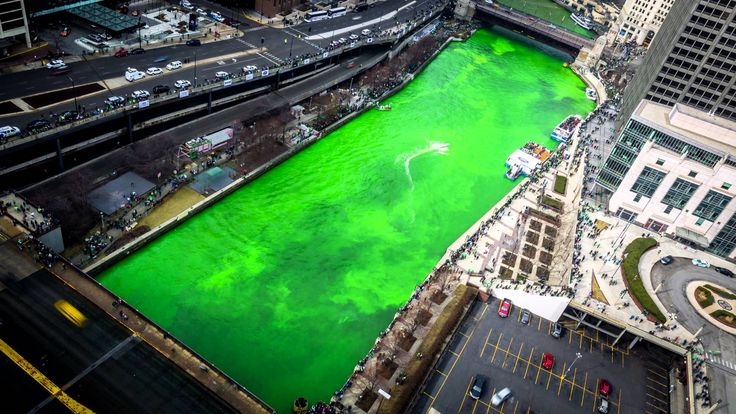 Chicago River Dyeing Green - St. Patrick's Day Celebration 2016 4K Time ...