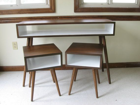 Mid Century Inspired APARTMENT SET. Two Nightstands and Small Desk / Painted Interior. Solid Wood Set. Small Space Modern Furniture Set on Etsy, 649,71 $ CAD
